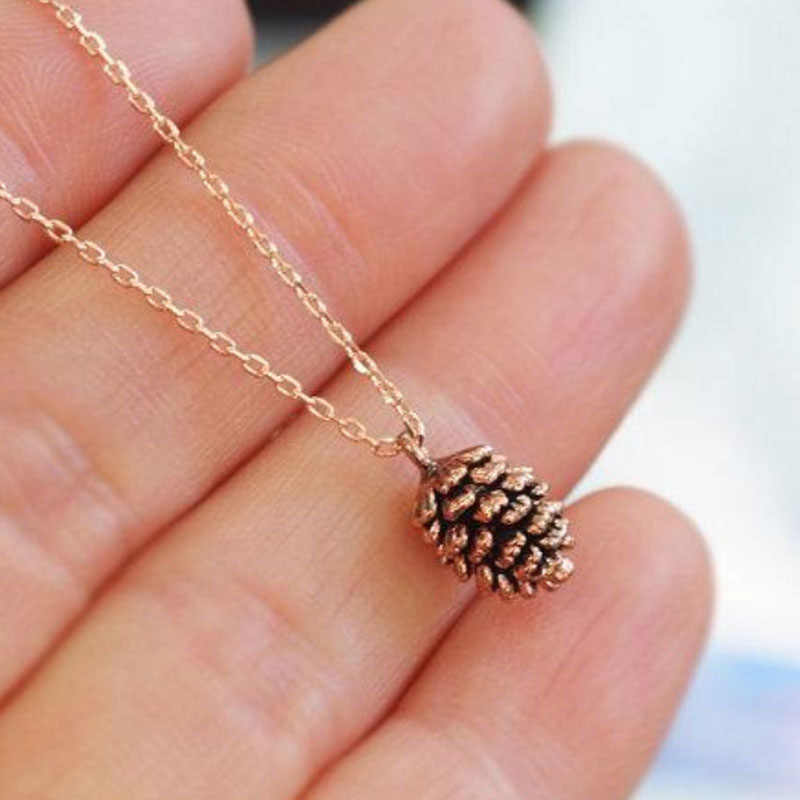 Tiny Cute Acorn Pinecone Necklace Minimal Pine Cone Necklace Small Cartoon Squirrel Nut Necklaces Pendant for Women N455