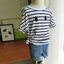 Children summer cotton loose striped T-shirt baby boys girls lovely smile pattern printed tees kids fashion short-sleeved tops