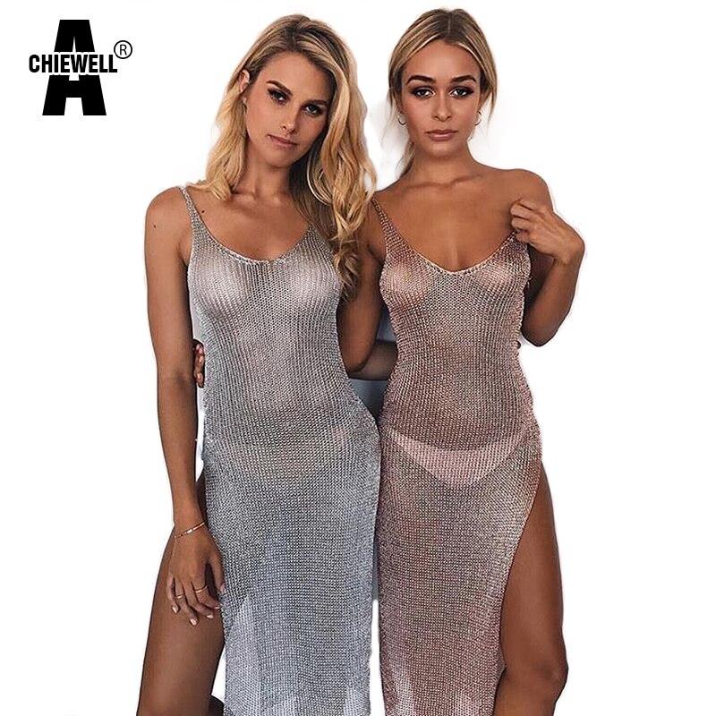 Achiewell Summer Sexy Women Dress Deep V Neck Back Hollow-out High Slit Hem Modern Metallic Silver/Black/Gold/Rosegold Dresses