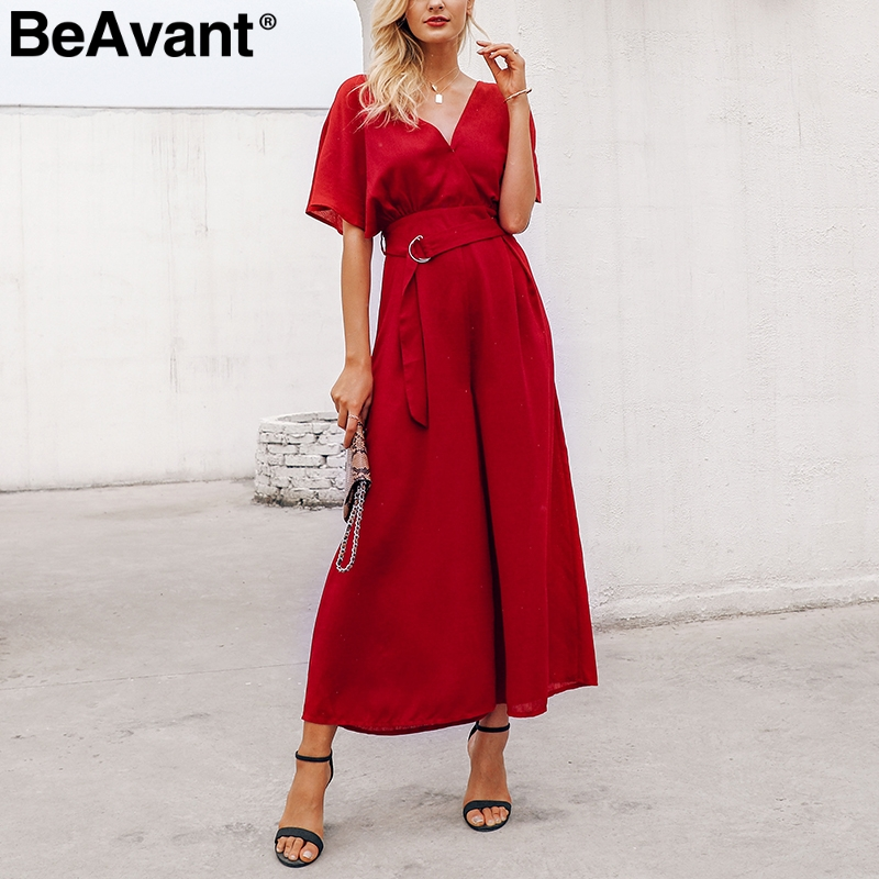 BeAvant Short sleeve high waist summer   jumpsuit   women V neck loose wide leg rompers long Holiday beach casual playsuit overalls