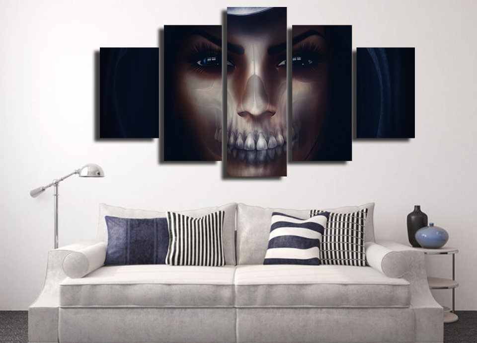 5 Panel Psychedelic Skull Litso Modern Home Wall Decor Painting Canvas Art Hd Print Painting Canvas