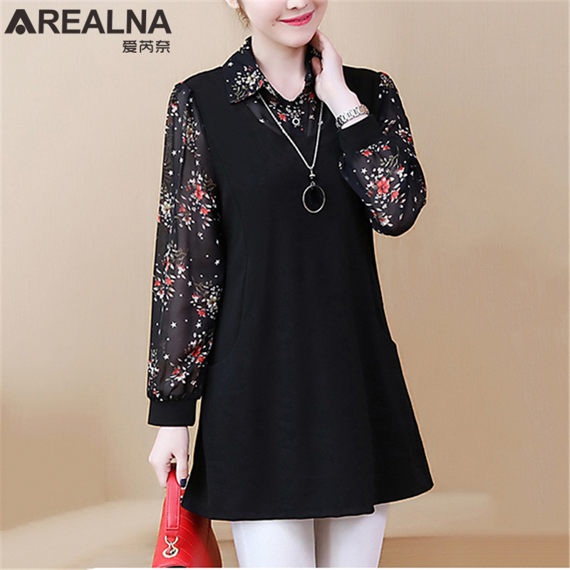 Kimono Casual Long Sleeve Floral Chiffon Patchwork Women's Shirts Plus Size Streetwear Blouse Fake Two Pieces Tops Blusas Mujer