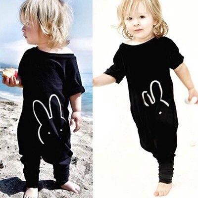 Для новорожденных; для маленьких мальчиков девушка одежда из хлопка Лето 2017 г. Повседневное короткий рукав с принтом кролика Черный Комбине... ...