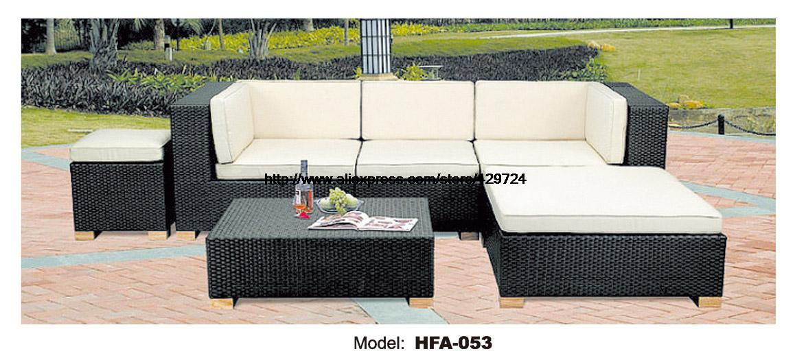 Classic Outdoor L Shaped Sofa Healthy PE Rattan Hot Sale Garden Vine Balcony Rattan Sofa Whole Set Include Table Cushions Sofa circular arc sofa half round furniture healthy pe rattan garden furniture sofa set luxury garden outdoor furniture sofas hfa086