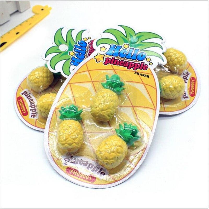 3pcs/sets  Cartoon Fruit Rubber Eraser For Kids Simulation Big Pineapple Modeling Eraser Student School Supplies
