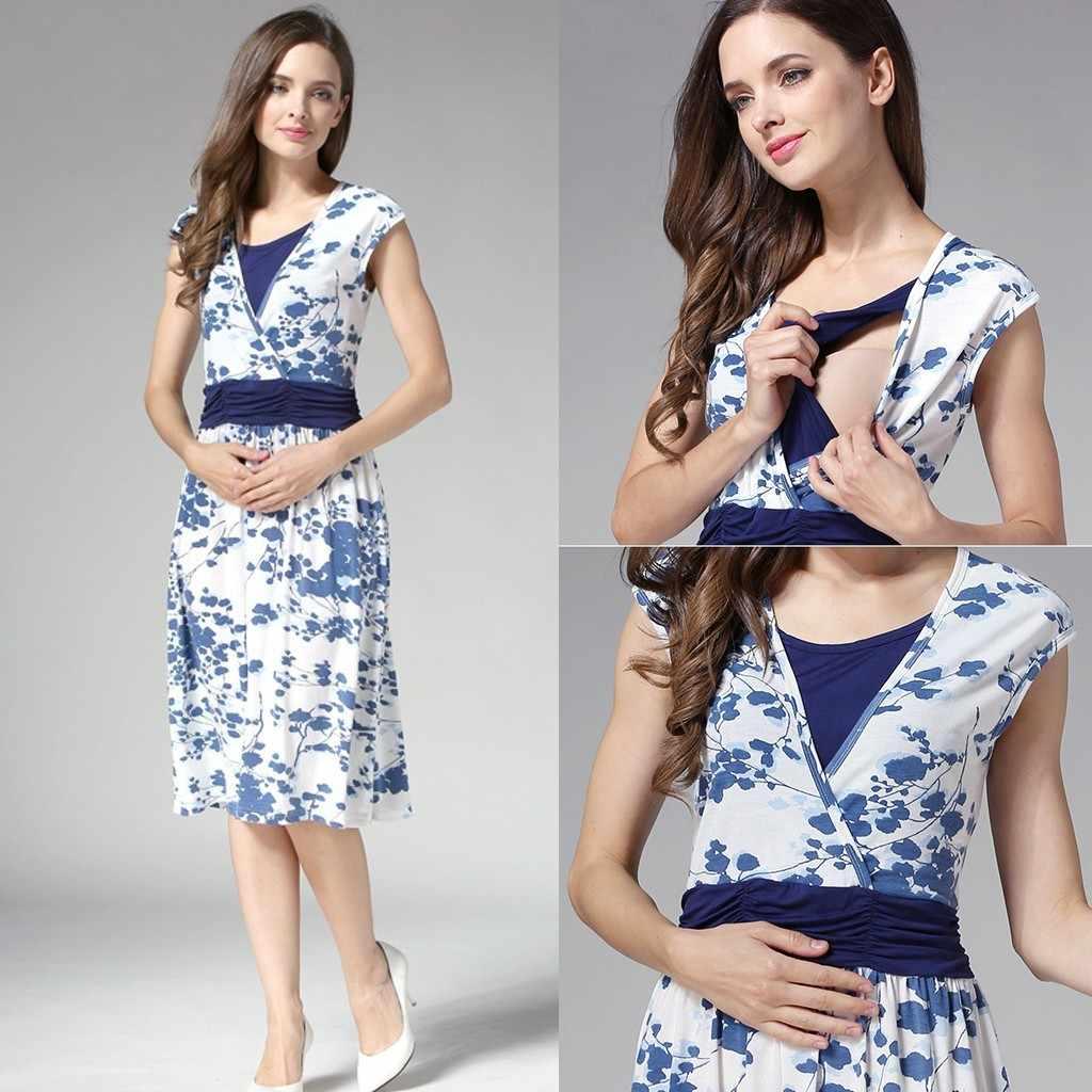 ARLONEET Mulheres Maternidade Para As Mulheres Grávidas Sem Mangas Em Camadas Floral Imprimir Vestido de Enfermagem Para A Amamentação P35