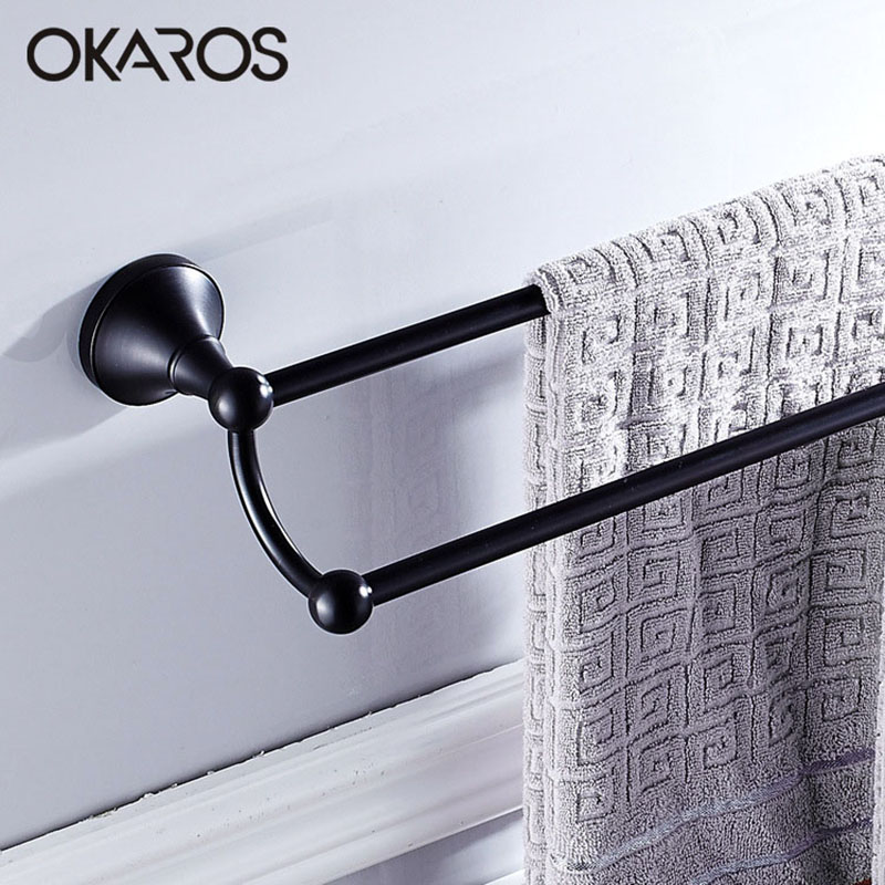 OKAROS Bathroom 60cm Double Towel Bar Towel Rack Holder Solid Brass Oil Rubbed Bronze/Black Finish Towel Rail Towel Hanger luxury artistic towel bar single towel holder wall mounted bathroom towel rail rod oil rubbed bronze finish