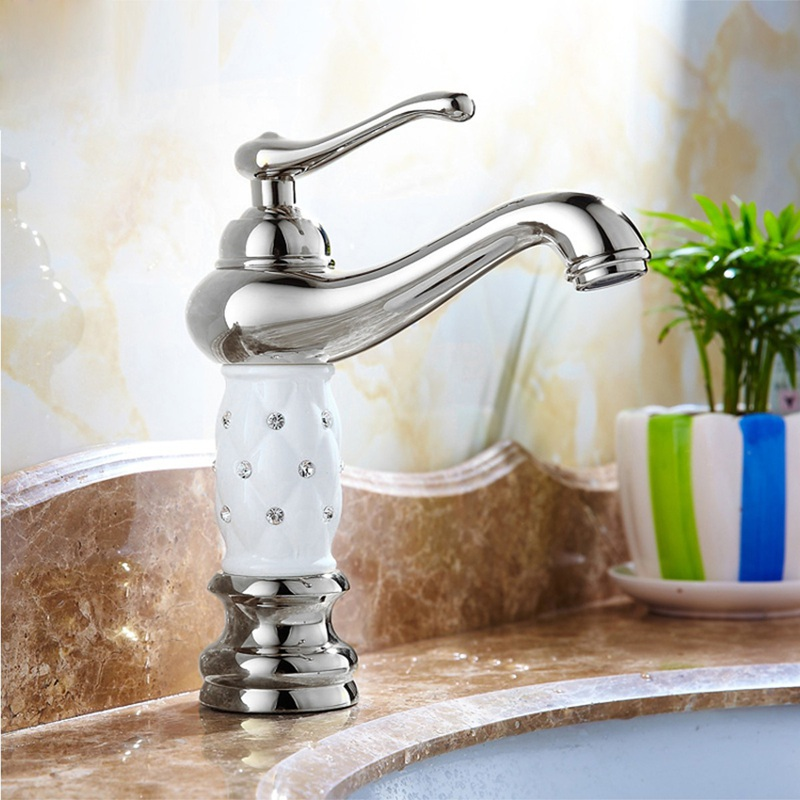 Xueqin White Single Handle Faucet Brass Finish Home Bathroom Kitchen Sink Laundry Mix Tap With 50cm