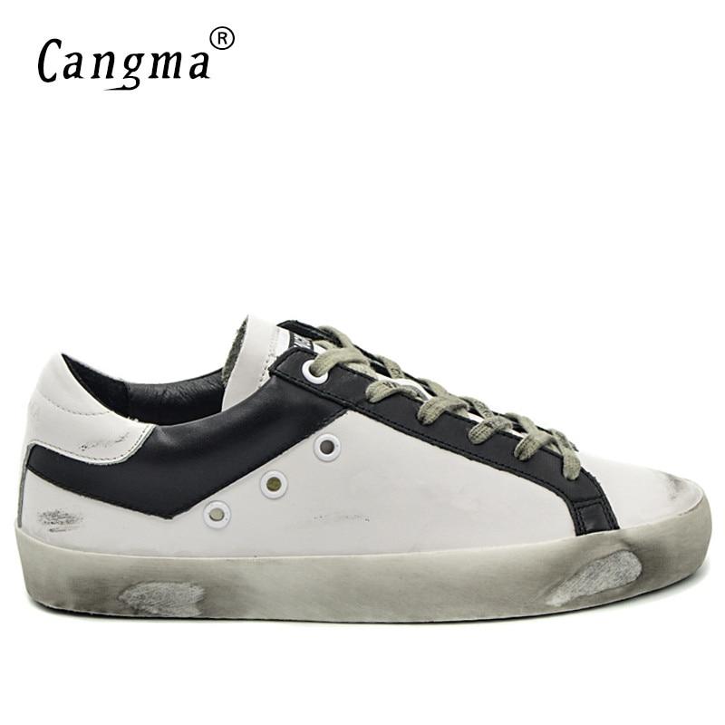 CANGMA Italian Designer Mærke Sneakers Vintage Mænds Casual Shoes Fashion Ægte Læder Hvid Bass Pustende Mænd Sko 34-48