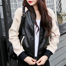 цена на Mr.nut contrast color stitching jacket female jacket new Korean version of loose casual simple motorcycle leather jacket
