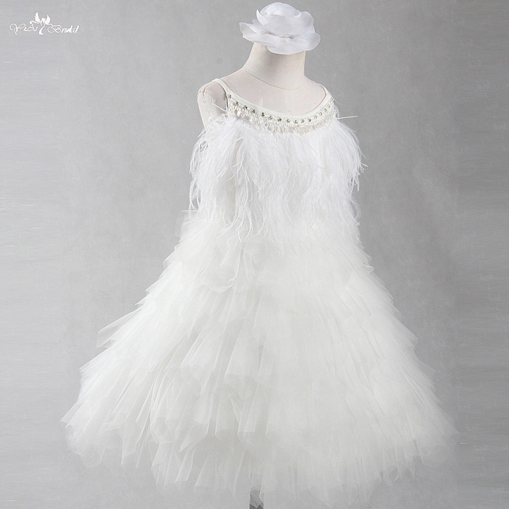 FG78 Real Pictures Yiaibridal Luxury   Flower     Girl     Dresses   Elegant Crystal Beading Pageant Tulle   Dress
