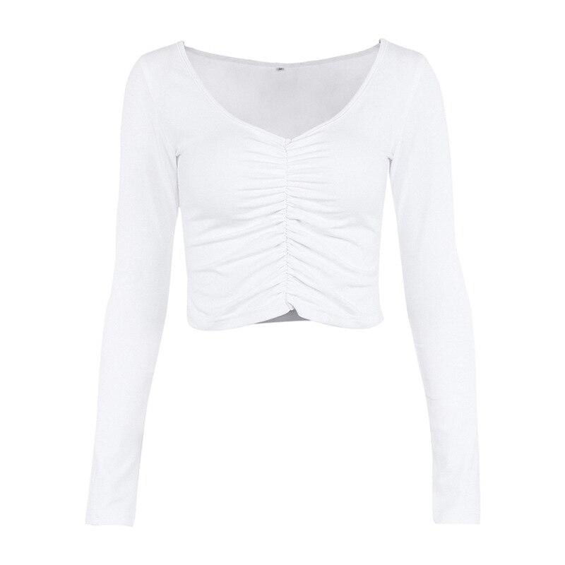 Sexy Lange Hülse Geraffte Weiß T shirt Frauen V Neck Stretch Grundlegende Crop Top 90 s Mädchen Slim Cropped T Hemd weibliche T Tops - 3
