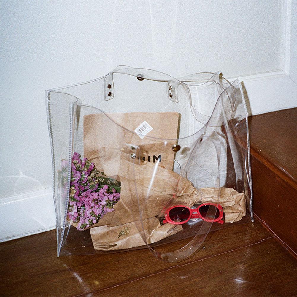 Clear Crystal Transparent Plastic Shoulder Bag Extra Large