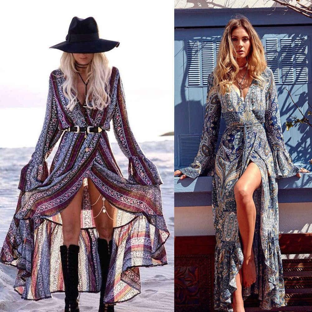 Women Dress Boho Floral Long Maxi Dress Party Evening Summer Beach Long  Sleeve Print Sundress V 3f98b2fde98b
