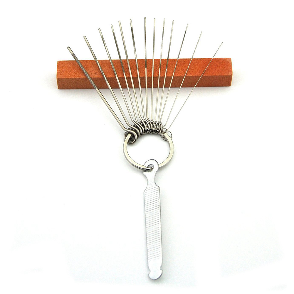 Guitar Bridge Saddle Nut Files Set - 13 Size Needle Files with Circular Cross Section and 9 Pcs Sand Paper Silver