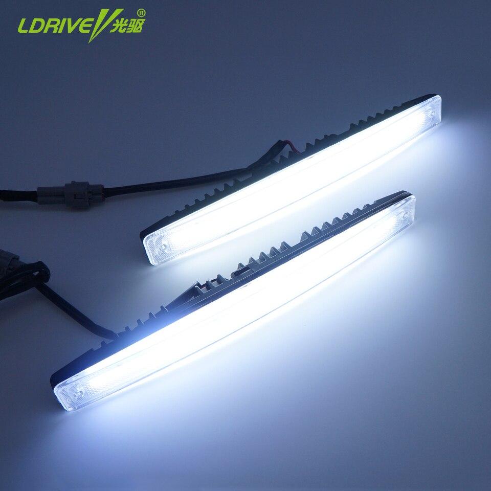 Hot High Brightness Universal 2Pc/lot DC12V DRL Led Daytime Running Light Flip Chip Led Fog Light with Lens Xenon White