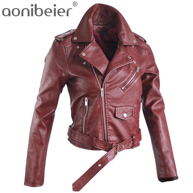 Aonibeier осень уличные женские короткие промывают PU кожаная куртка на молнии яркие цвета Дамы Основные куртки Slim Fit Женщины Пальто