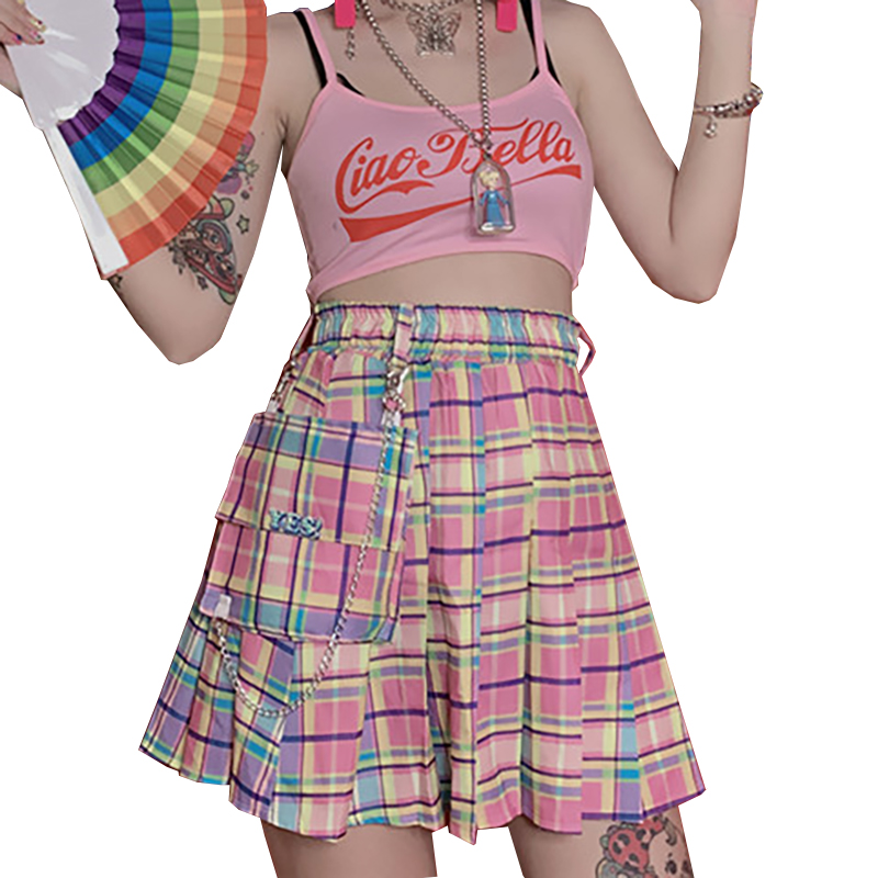New Summer Gothic Women Skirt Pink Plaid Skirt Sweet High Waist Wild Cute Pleated Skirt Harajuku Rainbow Skirts With Chain