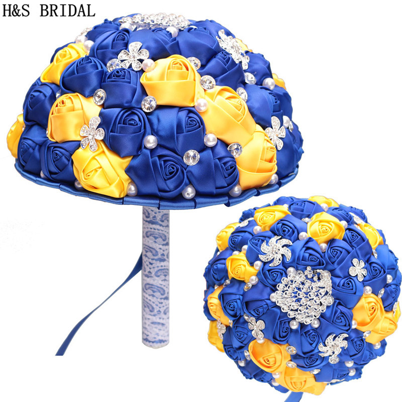 H&S BRIDAL Blue and yellow Wedding Flowers Crystals Bridal Bouquets Artificial Wedding Bouquets buque de noiva 2019