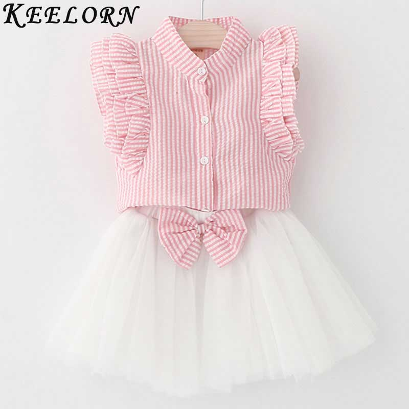 Keelorn Girls Clothing Sets 2017 Fashion Style Girls Dress Striped Shirt+Bow Voile Skirt 2Pc Suit for Kids Clothes 3-7y Girls
