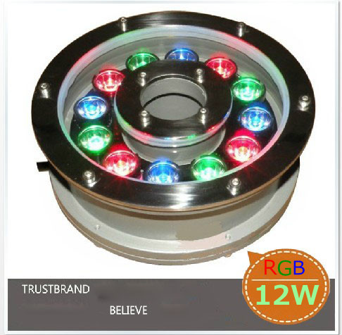 цена на [2pcs/lot] RGB 12W Led Underwater Light, DC12V Waterproof IP68 Underwater Spotlights/Fountain/Pool Light Free Shipping