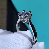 Pure 18K White Gold 1ct 2ct 3ct classic Moissanite Diamond jewelry Ring Wedding Party Anniversary Ring For Women