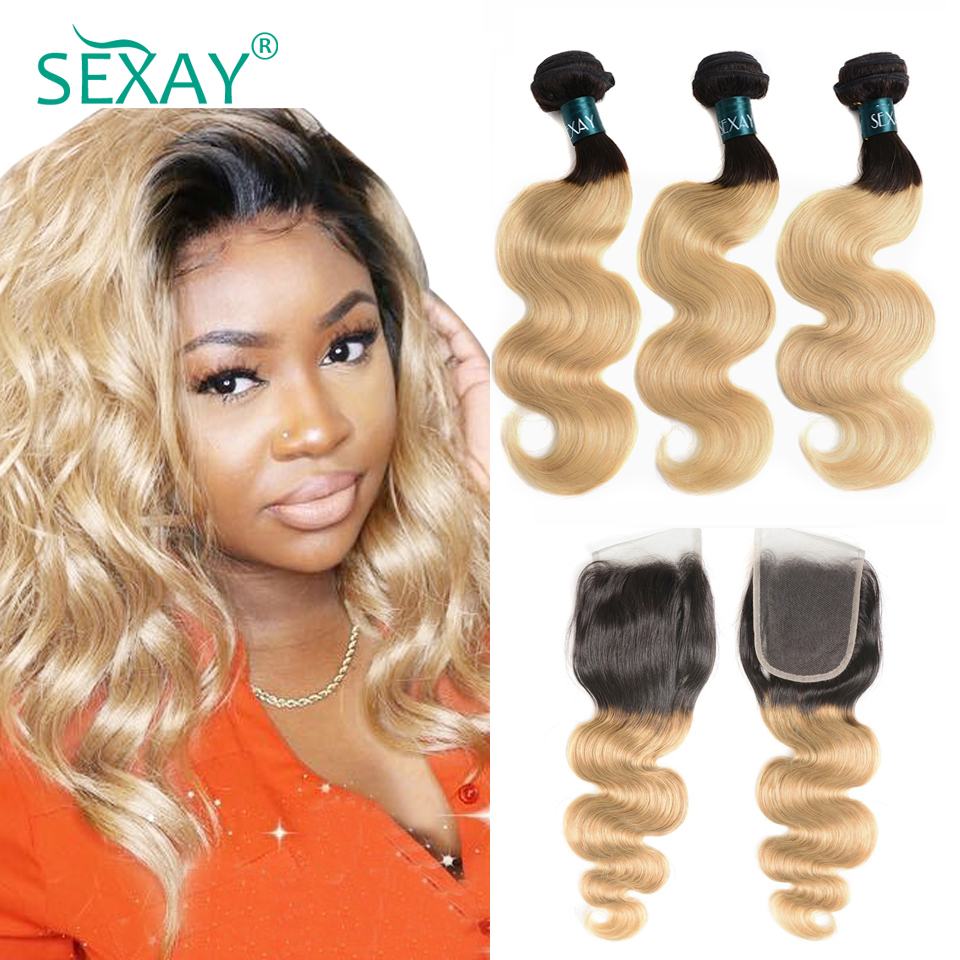 SEXAY Blonde Hair Bundles With Lace Closure 1B/27 Dark Roots Brazilian Body Wave Remy Hair Ombre Color Hair Bundles With Closure