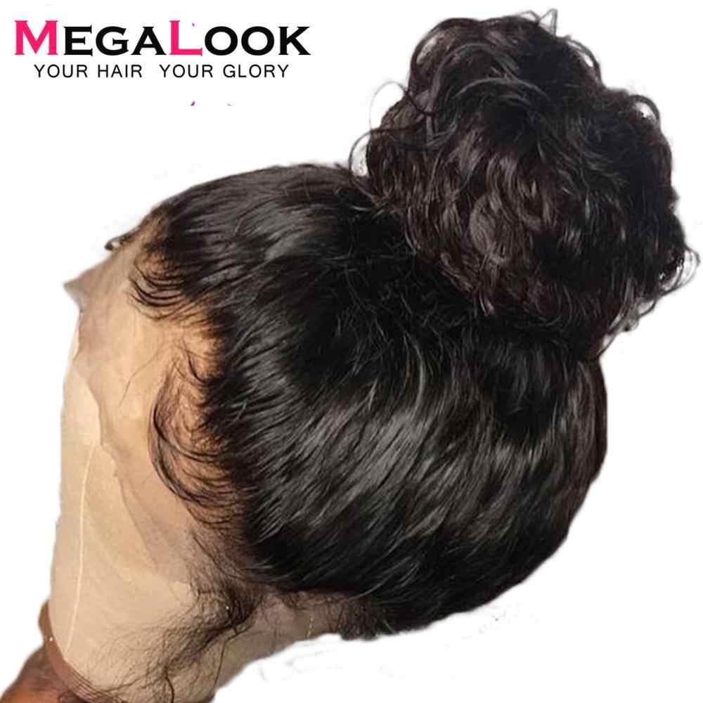 Megalook волосы бразильские глубокая волна человеческих волос парики 360 синтетический фронтальный парик с волосами младенца предварительно сорвал парик Remy 180% 210% плотность