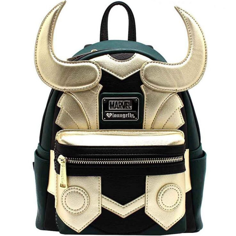Hot New Marvel Movie The Avengers Loki Backpack Fashion Classic Green Golden Fighting Form Backpack Fancy Shoulder Bag Gift