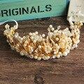 Diy ручной жемчужина цветок атласа hairband люкс тиара корона повязка на голову принцесса кристалл горный хрусталь аксессуары для волос