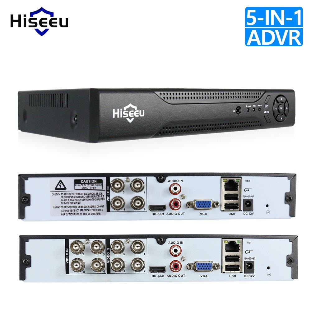 Hiseeu 4CH 8CH 1080 P 5 en 1 DVR grabadora de vídeo para AHD cámara analógica Cámara cámara IP P2P NVR cctv DVR H.264 sistema VGA HDMI