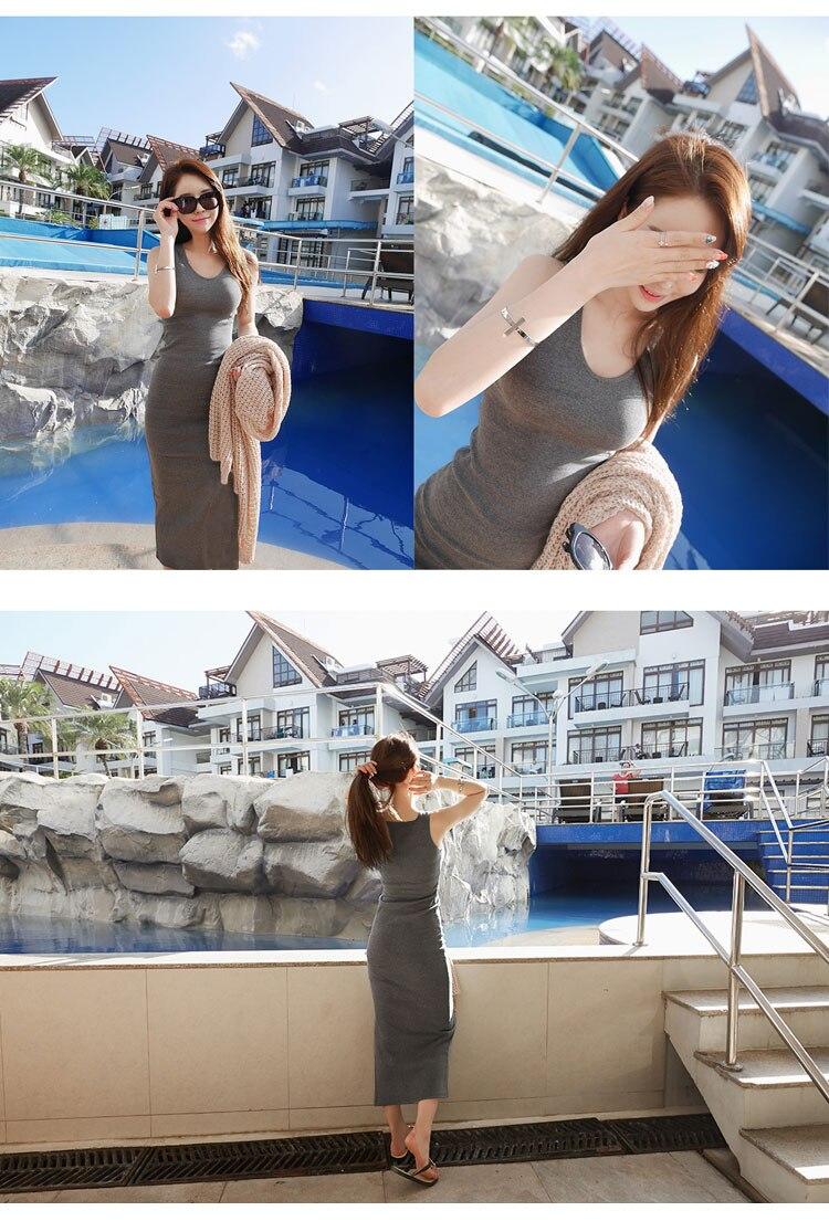 Новое поступление, весенне-летнее однотонное хлопковое повседневное длинное платье без рукавов, женское приталенное платье в пол с круглым вырезом, женское платье-жилет