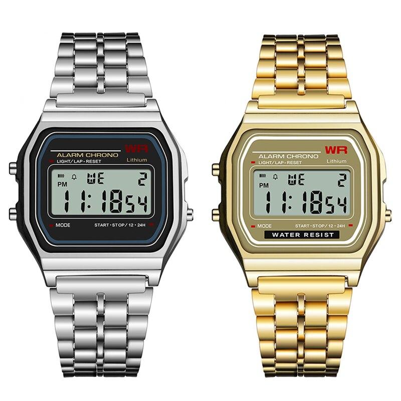 2350bf28bee SYNOKE Homens Mulheres Unisex Relógio de Prata de Ouro Do Vintage LEVOU Digitais  G Choque Esportes