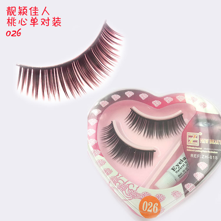 Intellective 1 Pair Sell Peach Heart False Eyelashes Korea Natural Naked Makeup Long False Eyelash Handmake Eye Lashes Makeup Kit Gift #026 Beauty Essentials False Eyelashes