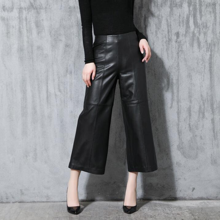 Зимние новые Haining штаны из натуральной кожи женские модные брюки сексуальные широкие брюки овечья кожа Женская Повседневная Свободная девя
