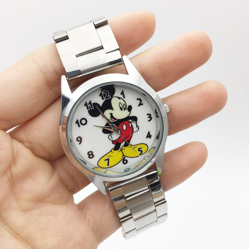 Cartoon Mini Mouse Watch For Women Hot Fashion Ladies Quartz Wrist Watches Female Clock Silver Steel Casual Relojes Mujer 2019