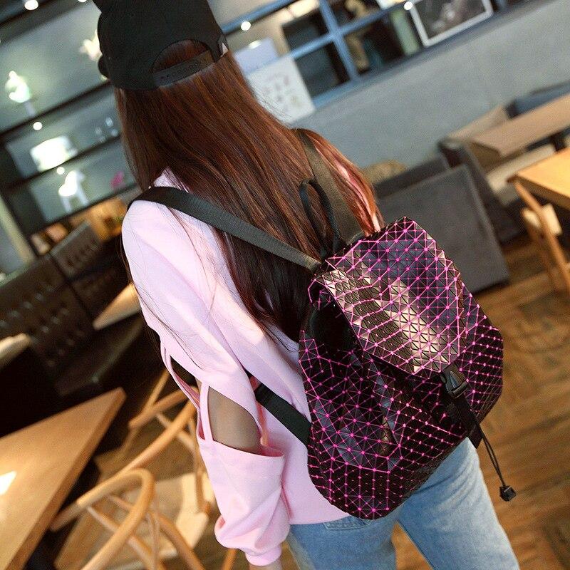 ФОТО Aolen Fashion Women Drawstring Backpack Diamond Lattice Geometry Quilted Ladies Backpack Sac Bag for Teenage Girl School Bags