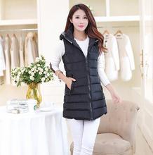 Autumn Winter Women Down Cotton Vest Fashion Sleeveless hooded Long Warm Woman Cotton Vest Padded Watcoat Jacket Coat Outwear