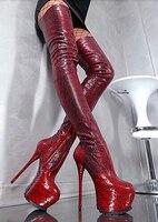 Женские сапоги гладиаторы из питона до колена; цвет красный, винный; на платформе; на молнии; выше колена; пикантные облегающие ботфорты на в