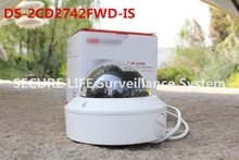 In stock Free shipping English version DS-2CD2742FWD-IS 4MP WDR Vari-focal Dome Network ip Camera POE, vandal proof