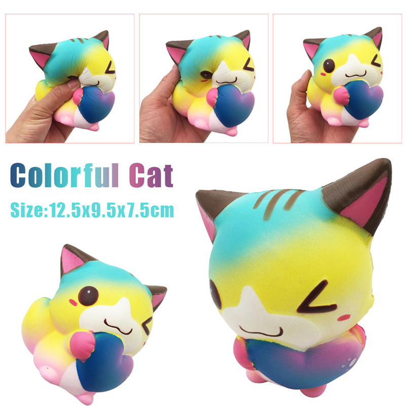 2018 Hot 12cm Squishy Cute Cartoon Heart Cat Fox Slow Rising Cream Scented Squeeze Toy Wood Funny Toys Toy For Kid A1