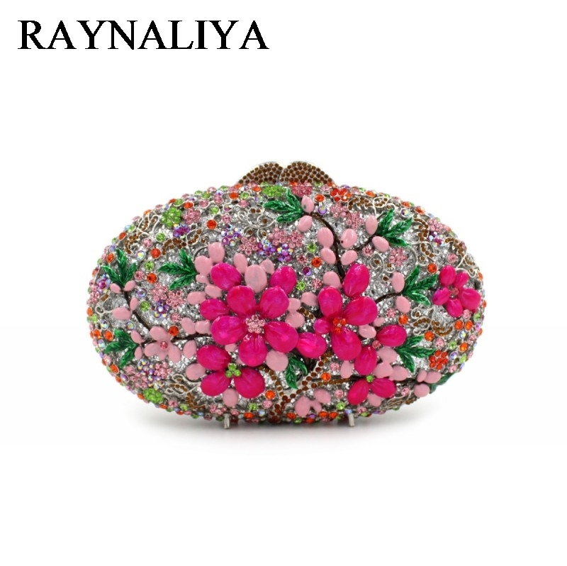 Multi Flower Crystal Clutch Evening Bag For Women Party Gold Metal Clutches Wedding Purses Bridal Clutch Hand Bag ZH-A0337