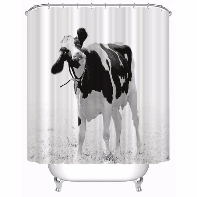 Cow Bathroom Shower Curtain Polyester Waterproof Set Size 180cmx180cm180cmx200cm150x200cm150x180cm