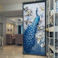 Customized modern fresh mural wallpaper 3D embossed oil painting peacock wallpaper porch background decorative wall paper