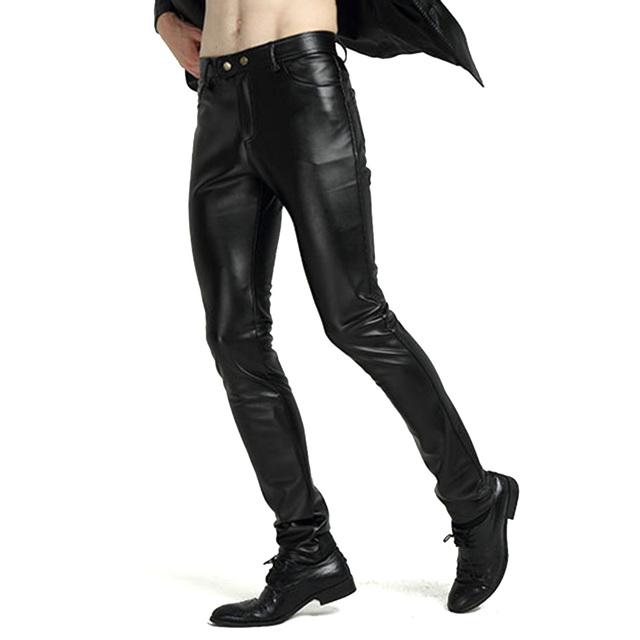 Mens Pantalones de Cuero de Imitación Wet Look Negro de La Motocicleta Del Motorista de LA PU de Los Pantalones Slim Fit Vaqueros de Invierno A Prueba de Viento Forro Polar Caliente 903-347