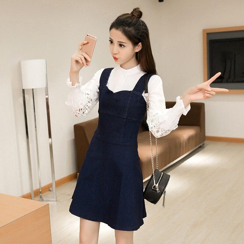 801e4b49b1c Femmes d été robe en jean décontracté ample salopette robes Femmes jeans  décontractés Robes En denim Coréen robes dans Robes de Mode Femme et  Accessoires ...