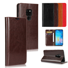 LUCKBUY Luxury Ultra-Thin Genuine Leather Book Style Phone Cases for Huawei Mate 20 20X Pro Lite Stand Wallet