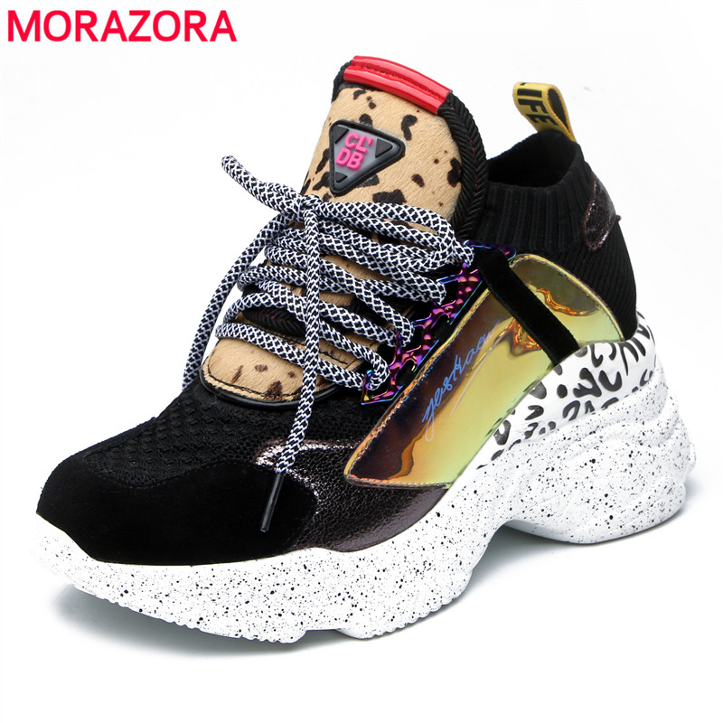 MORAZORA Drop Ship Women Sneakers Lace Up Round Toe Spring Summer Platform Sneakers Ladies Fashion Casual Shoes Female Size 42