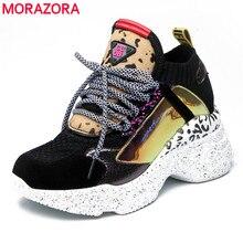 MORAZORA de la nave de la gota zapatillas de deporte de mujer de encaje redondo dedo del pie Primavera Verano zapatillas de plataforma de moda Zapatos casuales zapatos de mujer tamaño 42