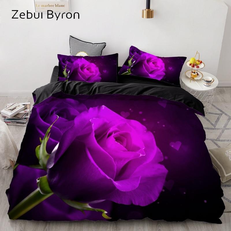 3D Bedding Set AU Custom/Europe,Duvet Cover Set USA Queen/King,Quilt/Blanket Cover Set,Bedclothes Rose Flower,drop Ship